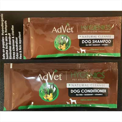 Free AdVet Hygienics Natural Dog Shampoo and Conditioner