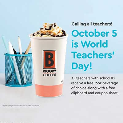 Free Beverage at Biggby Coffee (Teachers)